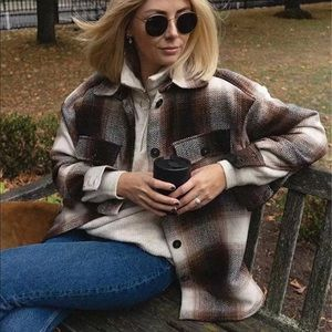 Boyfriend Fit Plaid Jacket Coat Brown Trucker